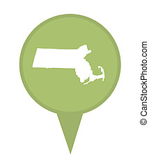 State of Massachusetts map pin - American state of...