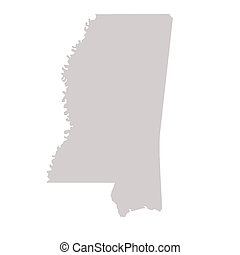 Mississippi State map isolated on a white background, USA