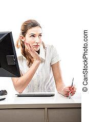 Thinking office worker. - Thinking office worker at her desk