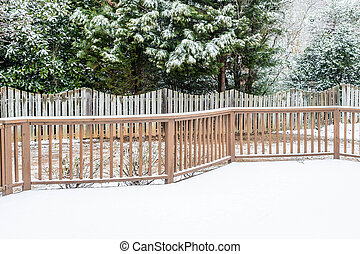 Snow on Deck and Evergreens