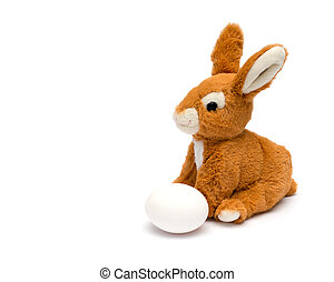 Easter rabbit and egg Isolated on a white background