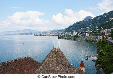 view on the top of Chillon castle