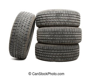 Tyres - A set of tyres isolated on white background