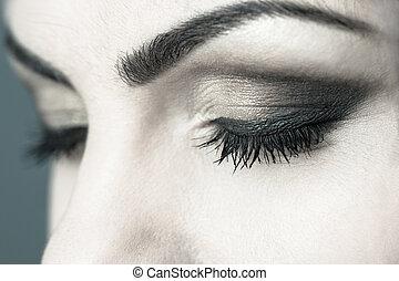Closed Eyes Smoky Makeup Closeup - Closed eyes sensual smoky...