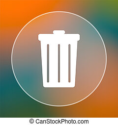 Bin icon. Internet button on colored  background.