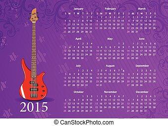 Vector American calendar 2015 with bass guitar