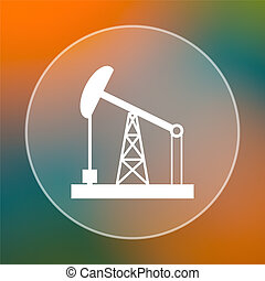 Oil pump icon. Internet button on colored  background.