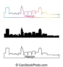 Raleigh skyline linear style with rainbow in editable vector...