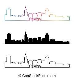 Raleigh skyline linear style with rainbow in editable vector...