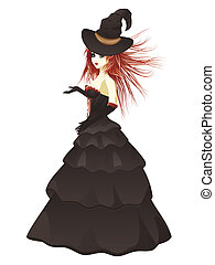Witch in Black Dress