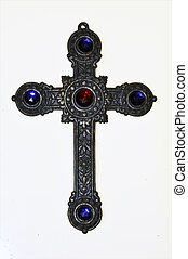 crucifix - old silver crucifix for praying in front of white...