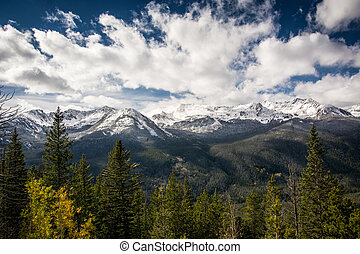 Rocky Mountain National Park - Trees, snow covered mountains...