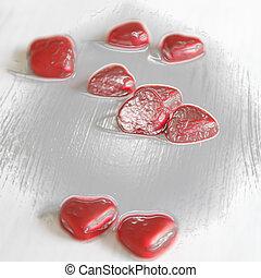 valentines, corações, Dia, fundo