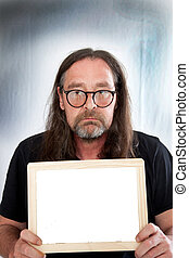 Long Hair Man Holding Small Blank White Board