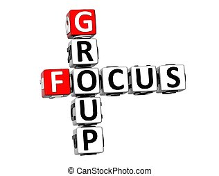 3D Crossword Group Focus on white background