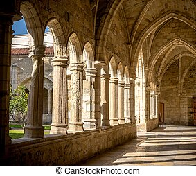 Santander Cathedral, hallway, columns and arches of the...