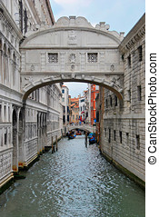 Ponte dei sospiri - Bridge of sighs in Venice, Italy. Ponte...