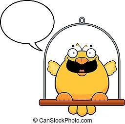 Cartoon Canary Talking - Cartoon illustration of a canary...