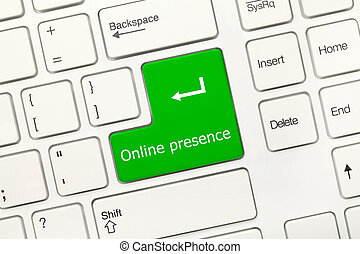 White conceptual keyboard - Online presence (green key) -...