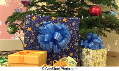 gift box christmas tree - Colorful gifts presents box with...