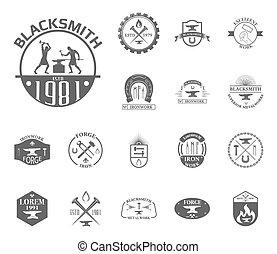 Set of vintage blacksmith labels, badges, emblems and design...