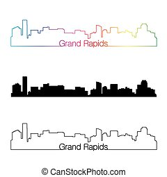Grand Rapids skyline linear style with rainbow in editable...