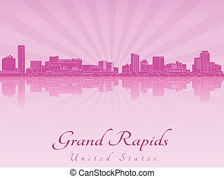 Grand Rapids skyline in purple radiant orchid in editable...