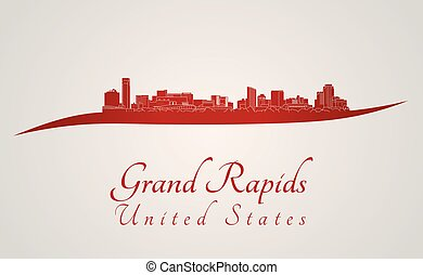 Grand Rapids skyline in red and gray background in editable...