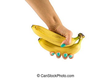 Two bananas in a female hand - two bananas in a female hand...