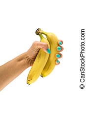 Vertical photo with bananas in hand on isolated background