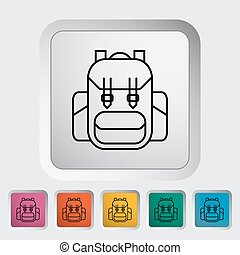 Rucksack outline icon on the button Vector illustration