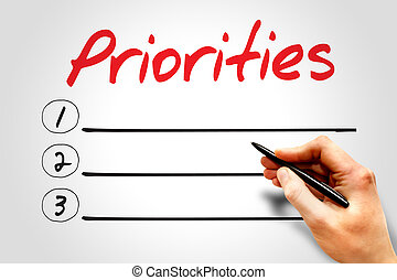 Priorities blank list, business concept