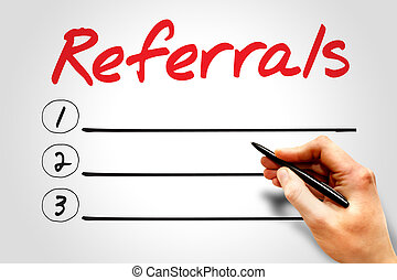 Referrals blank list, business concept