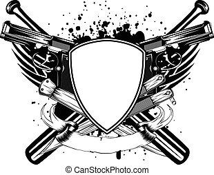 grunge frame knifes bats and two pi - Vector illustration...