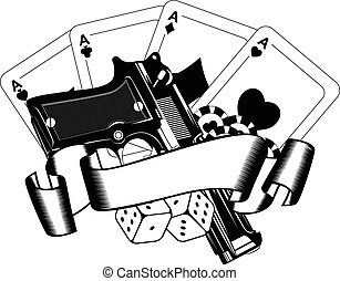 pistols and playing cards - Abstract vector illustration...
