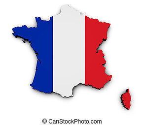 France Carte Flag Map - Shape 3d of France map with French...