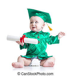 Baby in academician clothes. Concept of early learning child