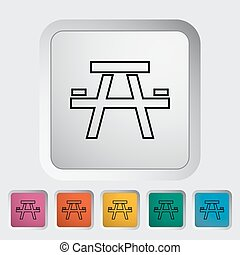 Camping table outline icon on the button Vector illustration...