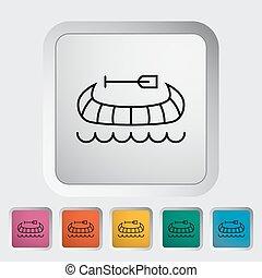 Canoe icon - Canoe outline icon on the button Vector...