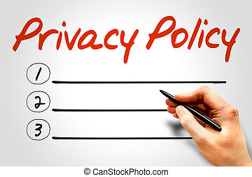 Privacy Policy blank list, business concept