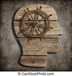 Behaviour and mind control concept - Old steering wheel over...