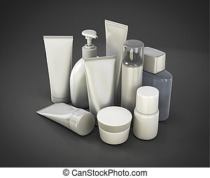 Cosmetic set from various means 3d render image