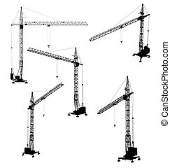 Set of silhouettes of the construction crane