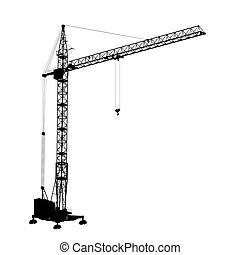 Silhouette construction crane