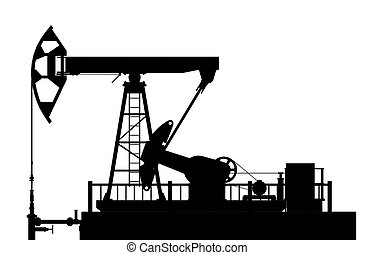 Silhouette of the oil pump on a white background.