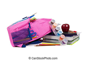Backpack with school supplies on a white background