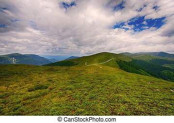 Beautiful landscape in the mountains with blue sky