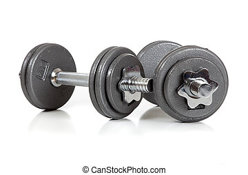 set of dumbells on white - A set of dumbells lon a white...
