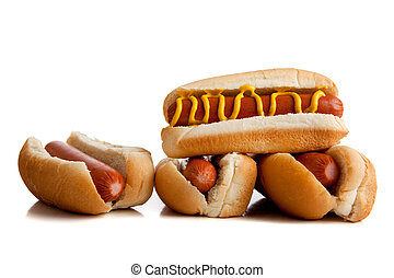 hot gogs with mustard on white - Hot dogs with mustard on...