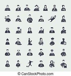 jogo, de, profissões, ícones,